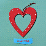 Quiero de Te, je t'aime dans l'Espagnol Photos stock