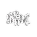 Quiero el hacer compras Fuente caligráfica Caracteres de encargo únicos Dé las letras para los diseños - logotipos, insignias, po stock de ilustración