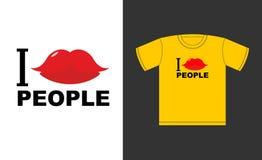 Quiero a gente Símbolo del beso del amor Logotipo para las camisetas buenas, alegría Imágenes de archivo libres de regalías