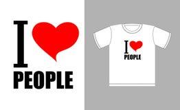 Quiero a gente Símbolo del corazón del amor Muestra para el buen hombre de las camisetas Fotografía de archivo