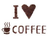 Quiero la muestra del café hecha de habas Imagen de archivo libre de regalías