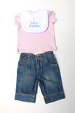 Quiero la ropa del bebé del papá Fotografía de archivo