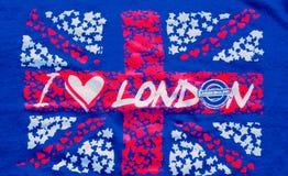 Quiero Londres una inscripción en fondo BRITÁNICO de la bandera Imagen de archivo