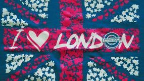 Quiero Londres una inscripción en fondo BRITÁNICO de la bandera Foto de archivo