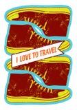 QUIERO VIAJAR Cartel retro del estilo del grunge con los zapatos Ilustración del vector Foto de archivo
