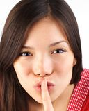 Quiet. Hush! shh, be quiet and don't tell - it's a secret royalty free stock image