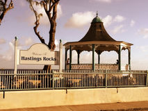 Quiet Afternoon in Hastings. Two strangers share a gazebo at Hastings Rocks, in Barbados Stock Photo