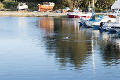 Makkrell. Quiet afternoon by the sea with some boats Royalty Free Stock Images