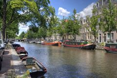 Quiet Amsterdam Canal Stock Photography