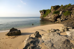 Quiet And Rocky Beach In Bali Royalty Free Stock Photos