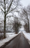 Quiet asphalt road in a wintry snow landscape Stock Image