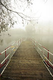 Quiet autumn. Empty jetty during foggy morning Stock Photography