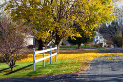 Quiet autumn street. Quiet street in small town America: the American dream. Location: Lee, Massachusetts royalty free stock images
