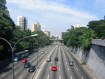 A quiet avenue. A view of traffic in Sao Paulo, in a quiet day stock image
