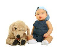Quiet Baby With His Stuffed Animal Stock Images