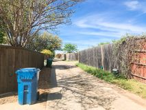 Quiet back alley in residential area near Dallas, Texas stock photo
