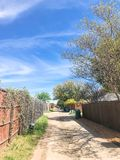 Quiet back alley in residential area near Dallas, Texas stock image