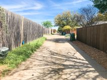 Quiet back alley in residential area near Dallas, Texas royalty free stock photos