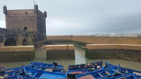 Old fortress in the port of the resort town of Essaouira, Morocco stock image