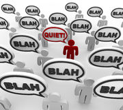 Quiet - Bad Communication. A crowd of people in disorganized communication, with one person yelling Quiet Stock Image