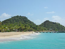 Quiet beach on private Palm Island Stock Photography