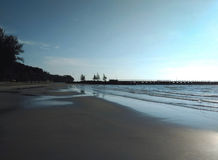 Quiet beach in Sarawak at low tide Royalty Free Stock Images