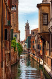 Quiet beautiful small canal in Venice, Italy Royalty Free Stock Photos