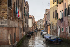 Venice. A quiet canal with boats in Venice, Italy, Southern Europe stock photography
