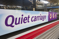 Quiet carriage sign on a train. Quiet carriage sign on the exterior of a train Stock Photo