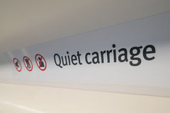 Quiet carriage sign on a train. Quiet carriage sign inside a train compartment Royalty Free Stock Photography