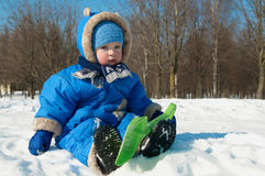 Quiet child winter outdoors Stock Image