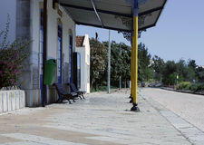 A quiet country railway station  in portugal Stock Images