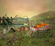 Quiet Countryside Scenery With Pumpkins Royalty Free Stock Photos