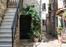 The quiet courtyard of old town Budva, Montenegro royalty free stock photo