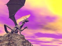 Quiet dragon - 3D render. Quiet dragon sitting on a rock by sunset evening and observing away royalty free illustration