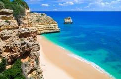 Quiet Empty Beach. An empty, quiet beach in the Algarve, Portugal Stock Photos