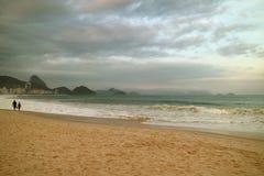 Quiet Evening on Copacabana Beach in Rio de Janeiro, Brazil, South America. Beauty in nature, atlantic, beautiful, blue, city, clouds, cloudy, coast, copy stock photography