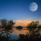Quiet evening on a river Royalty Free Stock Photography