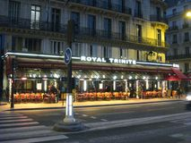 A quiet evening at the Royal Trinite restaurant in Paris royalty free stock photography