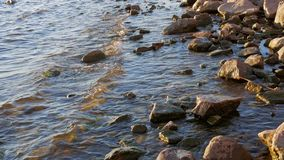 Water and rocks. Waves on the shore of the Gulf of Finland stock footage