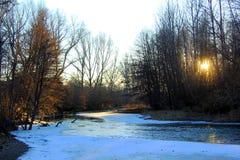A quiet, frosty evening river landscape stock images