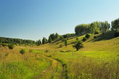 Quiet green summer hill slope with trees, road and blue sky Royalty Free Stock Photography