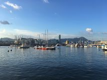 Quiet harbour in Hong Kong royalty free stock photography