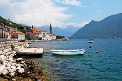Quiet historic town of Perast, Montenegro Stock Images