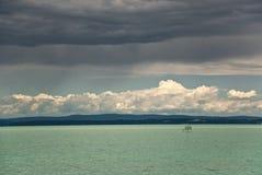 Quiet lake. Balaton lake during cold weather Royalty Free Stock Image
