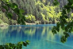 Quiet lake. Lake in jiuzhaigou valley scene,sichuan province Stock Photos