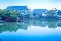 Quiet lake-Nanchang Mei Lake Scenic Area. Nanchang Mei Lake scenic spot in detail, refined garden, curved Pavilion, platform and other types of gardens stock photography