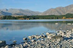 Quiet Lake Tekapo, New Zealand Royalty Free Stock Photo