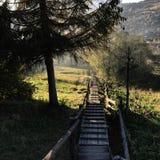 Quiet life in the Ukrainian Carpathians stock image