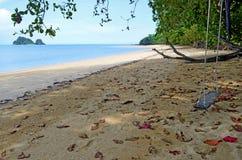 Quiet little beach on Yao Noi island, Thailand. Quiet little beach on Yao Noi island, Koh Yao Noi, with Nok island on the left, in the Phang Nga Bay, Andaman Sea Stock Photos